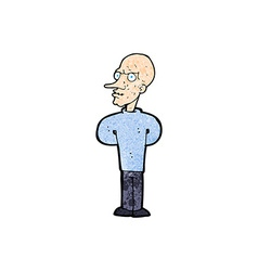 Cartoon evil bald man with thought bubble vector