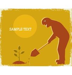 Gardener digging vector