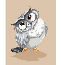 Gray owl standing alone vector