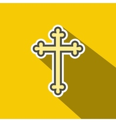 Christian cross flat icon vector