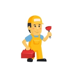 Friendly construction worker man with tools vector