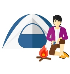 Man kindling fire vector