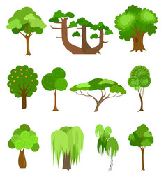 Trees icons  simple cartoon vector