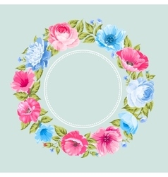 Flower garland for invitation card vector