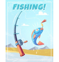 Grunge background with fishing rod and fish vector image