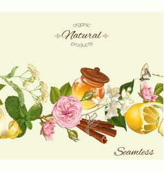 Herbal seamless banner vector