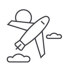 airplane line icon sign on vector image