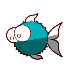 aquamarine silhouette of blowfish with big eyes vector image vector image