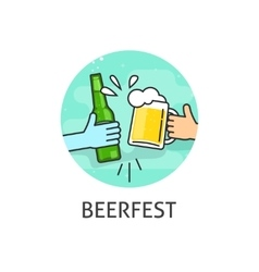 Beer festival logo isolated flat outline vector