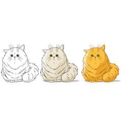 cartoon cute sitting big cat set vector image vector image