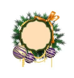 Christmas wreath and balls vector image vector image