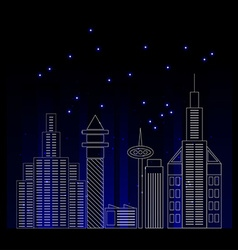 City skyline detailed silhouette trendy line art vector