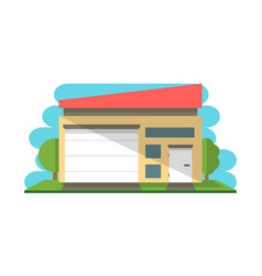 Commercial warehouse structure isolated icon vector