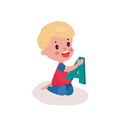 cute blonde little boy sitting on the floor vector image