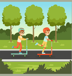 Cute boy and girl riding kick scooters in the park vector