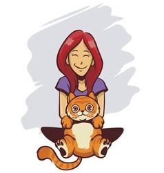 Cute girl and cute cat vector