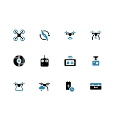 Drone with camera duotone icons on white vector