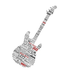 Electric guitar shape composed of music text vector image vector image