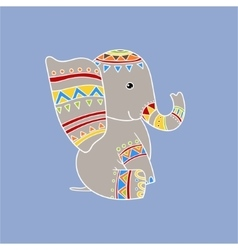 Elephant wearing tribal clothing vector