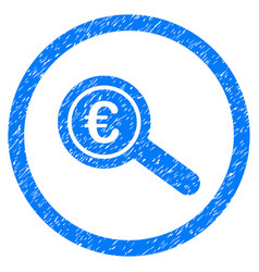 Euro financial audit rounded icon rubber stamp vector