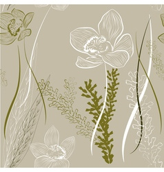 Floral Background with Orchids vector image vector image