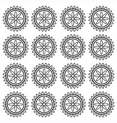 Flower wheel block pattern vector