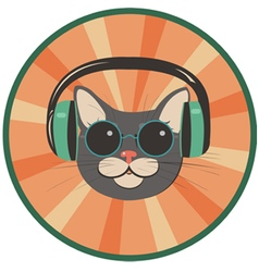Funny cat in a retro style vector