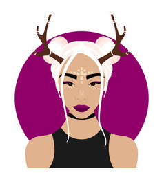 Girl with deer horns vector