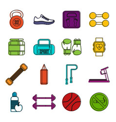 gym icons doodle set vector image