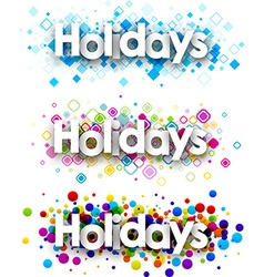 Holidays colour banners set vector