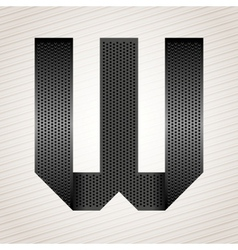 Letter metal ribbon - w vector