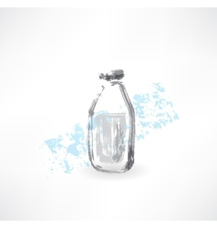 milk bottle grunge icon vector image vector image