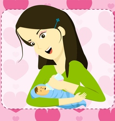 Mother holding her baby and bottle feeding vector image vector image