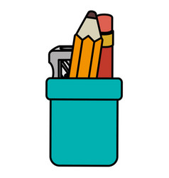 pencil holders with sharpeneer vector image vector image