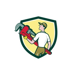 Plumber carry monkey wrench walking crest cartoon vector