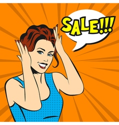 pop art surprised woman face with smile and a sale vector image vector image