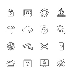 Security Line Icons vector image vector image