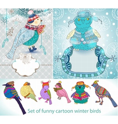 set of funny cartoon winter birds vector image