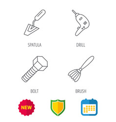 Spatula tool drill and brush icons vector