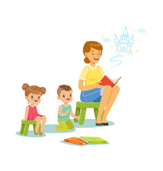Teacher reading a fairytale to kids in preschool vector