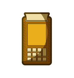 Yellow aged silhouette of payment terminal vector