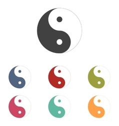 Ying yang symbol icons set vector