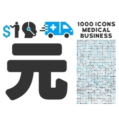 Yuan Renminbi Icon with 1000 Medical Business vector image vector image