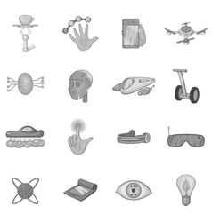 New technologies icons set black monochrome style vector