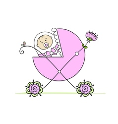 Newborn in babys buggy for your design vector image
