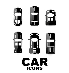 Black glossy car icon set vector