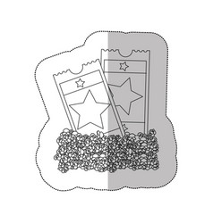 Grayscale contour sticker of popcorn and movie vector