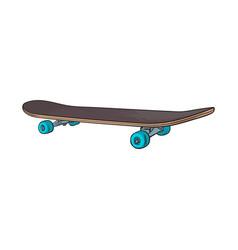 Black 90s style skateboard sketch vector