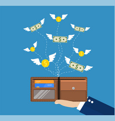 Dollars and coins with wings flying vector