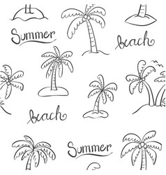 Doodle of palm beach hand draw vector
